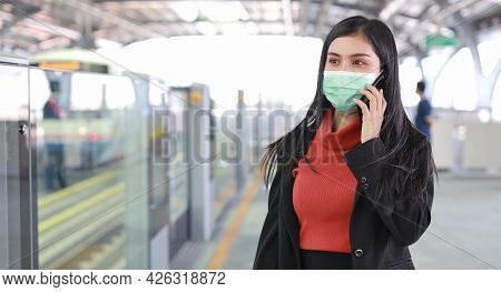New Normal Covid-19 Epidemic, Young Business Asian Woman Wearing Mask Protection For Prevent Virus C