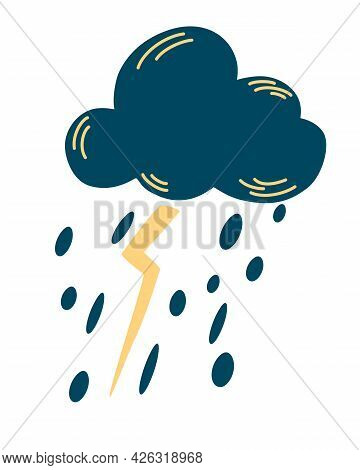 Cloud With A Thunderstorm And Rain. Weather Forecast. Rainy Weather Icon. Storm Design Template. Car
