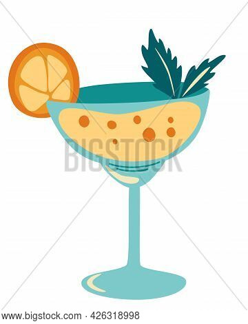 Cocktail. Refreshing Drink With A Slice Of Orange And Mint Leaves. Alcohol Drink. Perfect For Design