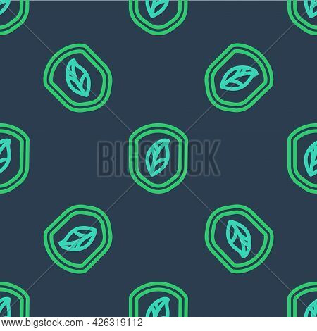 Line Shield With Leaf Icon Isolated Seamless Pattern On Blue Background. Eco-friendly Security Shiel