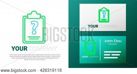 Line Clipboard With Question Marks Icon Isolated On White Background. Survey, Quiz, Investigation, C