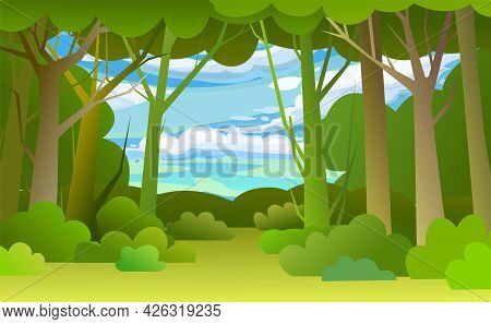 Forest Trees Background. Glade In The Thicket. Sky. Beautiful Green Summer Landscape. Flat Design. C
