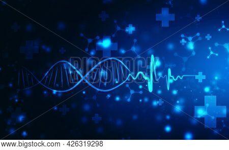 Ecg Line Background With Digital Dna Illustration, Ekg Heart Beat Line Monitor. Health Care And Medi
