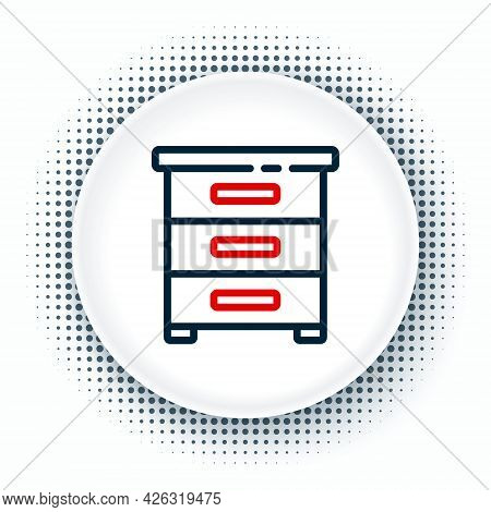 Line Drawer With Documents Icon Isolated On White Background. Archive Papers Drawer. File Cabinet Dr