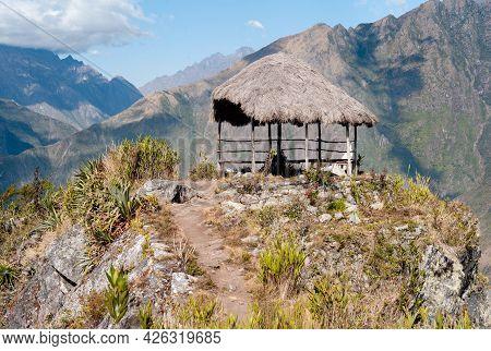 Hut At The Summit Of Machu Picchu Mountain In Peru