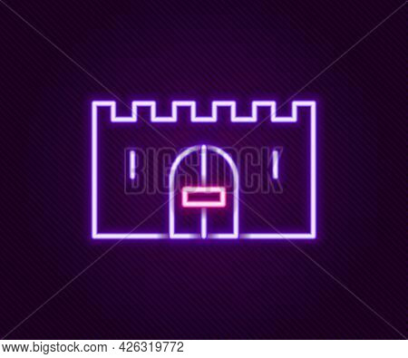 Glowing Neon Line Medieval Castle Gate In A Stone Wall Icon Isolated On Black Background. Medieval F