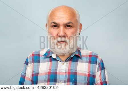 Middle Aged Man. Portrait Of Old Bald Man Bearded Man With Grey Moustache Beard.