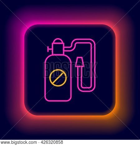 Glowing Neon Line Pressure Sprayer For Extermination Of Insects Icon Isolated On Black Background. P