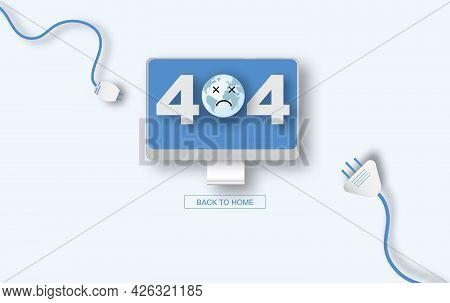 Modern Vector Illustration Of 404 Error Page Vector Template For Website, Computer Desktop Electric