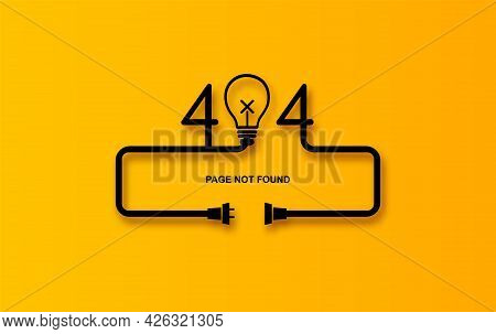 Modern Vector Illustration Of 404 Error Page Vector Template For Website, Light Bulb Electric Plug A