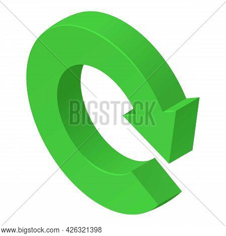 Reload Icon Isometric Vector. Green Circular Arrow. Rotate Right Icon