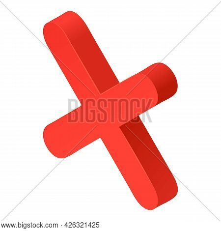 Red X Mark Icon Isometric Vector. Red Cross Sign. Rejected 3d Sign