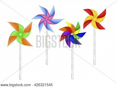 Drawing Of Paper Turbine Illustration, Colorful Blades On White Stick Isolated On White Background A