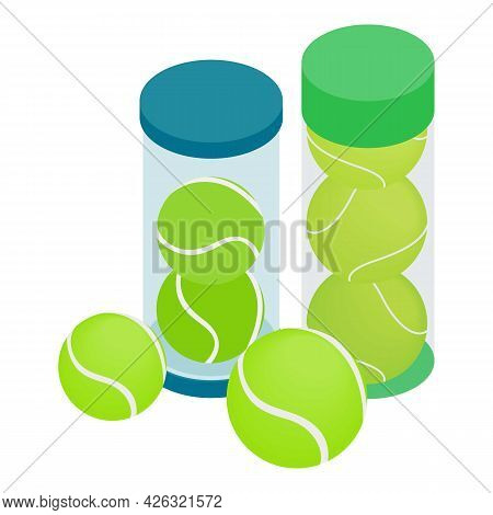 Tennis Ball Icon Isometric Vector. Green Tennis Ball In Plastic Container. Sport Inventory