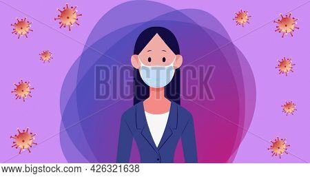 Composition of purple frame with orange covid 19 virus cells over woman wearing face mask. medical precautions during coronavirus covid 19 pandemic concept digitally generated image.