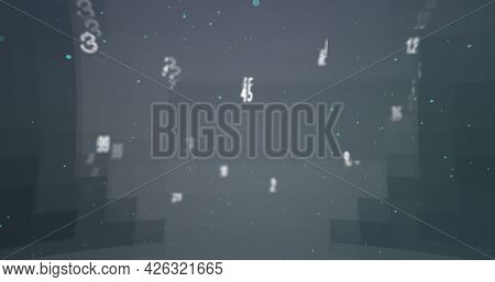 Digital image of random alphabets and numbers moving and changing against grey background. numerical and alphabetical information flow concept