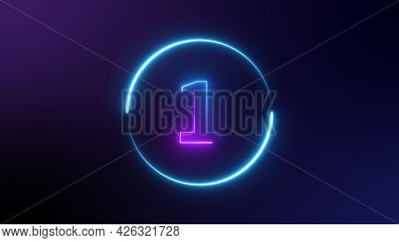 Number 1 Glowing In The Dark, Pink Blue Neon Light. Top Number One Neon Light Bright Glowing. Purple