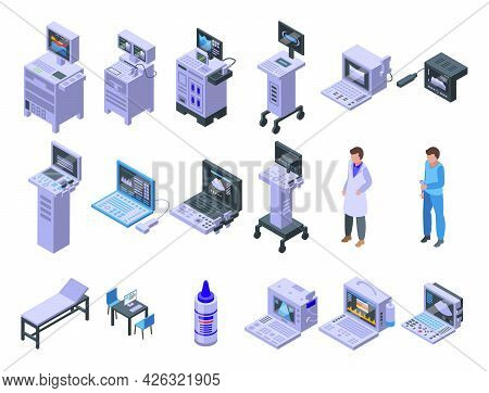 Sonograph Icons Set Isometric Vector. Clinic Analysis. Computer Device Diagnosis