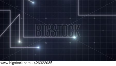 Image of glowing white points with light trails moving on grid on purple background. digital interface computing concept digitally generated image.