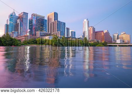 Amazing Dramatic Austin Texas Sunset Mirror Town Lake Reflection With Colorful Cloud Reflecting On T