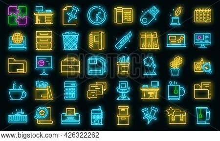 Space Organization Icons Set. Outline Set Of Space Organization Vector Icons Neon Color On Black