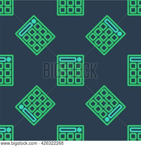 Line Drum Machine Music Producer Equipment Icon Isolated Seamless Pattern On Blue Background. Vector