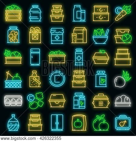 Food Storage Icons Set. Outline Set Of Food Storage Vector Icons Neon Color On Black
