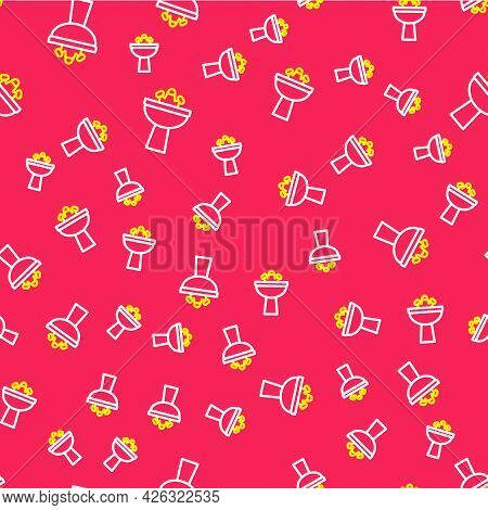 Line Washbasin With Water Tap Icon Isolated Seamless Pattern On Red Background. Vector