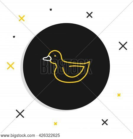 Line Rubber Duck Icon Isolated On White Background. Colorful Outline Concept. Vector