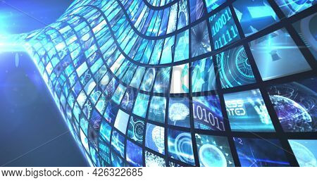 Image of network of screens with digital data. digital interface connection and communication concept digitally generated image.