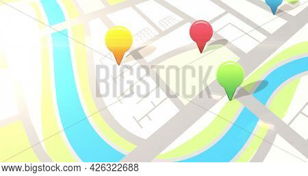 Image of location pins over flashing digital road map. digital interface connection and communication concept digitally generated image.