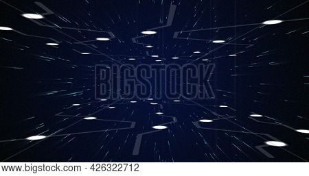 Image of glowing white points with light trails moving on night sky with stars. digital interface computing concept digitally generated image.