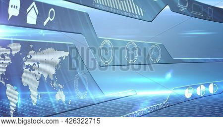 Image of screen with data processing with world map. digital interface connection and communication concept digitally generated image.