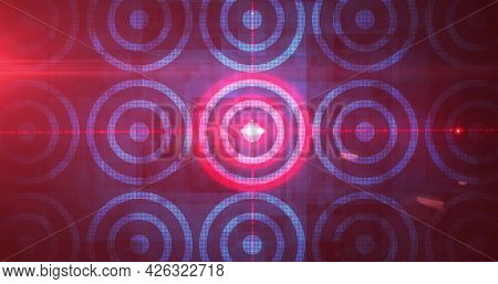 Image of rows of red glowing digital scopes. digital interface connection and communication concept digitally generated image.