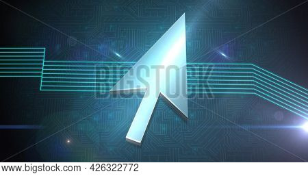 Image of cursor arrow and green glowing lines over computer circuit board. digital interface connection and communication concept digitally generated image.