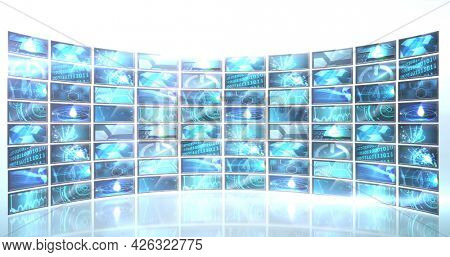 Image of rows of screens showing data processing on whitebackground. digital interface connection and communication concept digitally generated image.