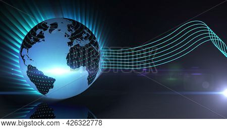 Image of glowing globe and green lines over blue background. digital interface connection and communication concept digitally generated image.