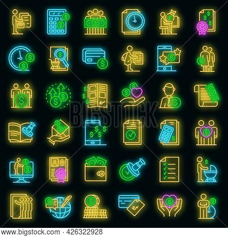 Allowance Icons Set. Outline Set Of Allowance Vector Icons Neon Color On Black