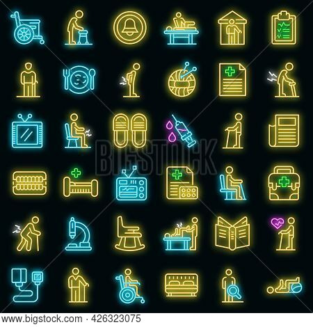 Nursing Home Icons Set. Outline Set Of Nursing Home Vector Icons Neon Color On Black