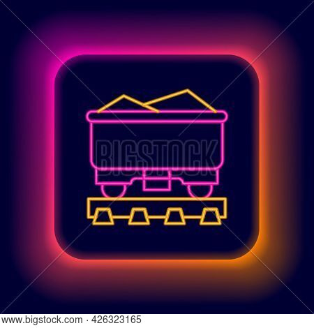 Glowing Neon Line Coal Train Wagon Icon Isolated On Black Background. Rail Transportation. Colorful