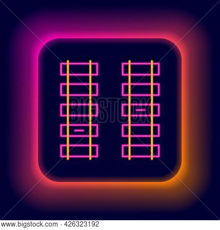 Glowing Neon Line Railway, Railroad Track Icon Isolated On Black Background. Colorful Outline Concep