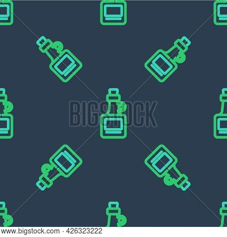 Line Alcohol Drink Rum Bottle Icon Isolated Seamless Pattern On Blue Background. Vector