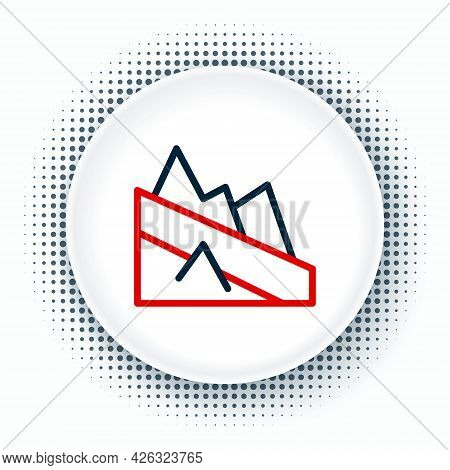 Line Mountain Descent Icon Isolated On White Background. Symbol Of Victory Or Success Concept. Color