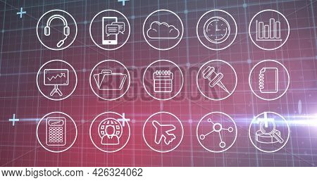Image of multiple digital icons over grid. digital interface connection and communication concept digitally generated image.