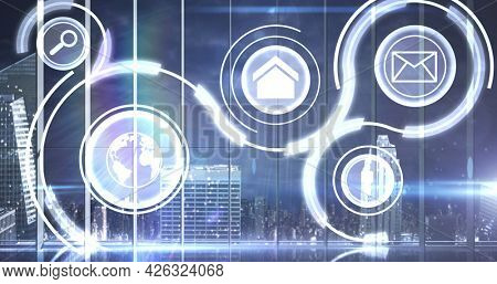Image of network of connection with computer icons over cityscape. digital interface connection and communication concept digitally generated image.