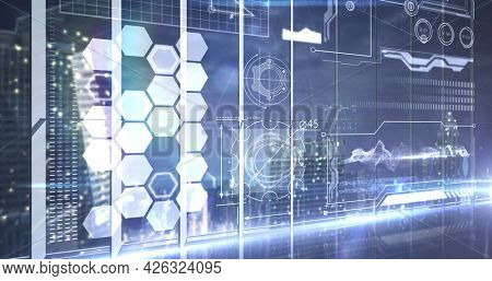 Image of network of hexagons and data processing over cityscape. digital interface connection and communication concept digitally generated image.