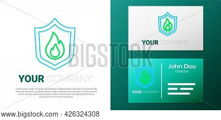 Line Fire Protection Shield Icon Isolated On White Background. Insurance Concept. Security, Safety,