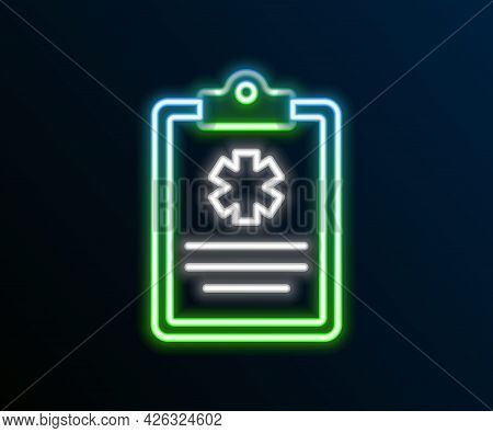 Glowing Neon Line Medical Clipboard With Clinical Record Icon Isolated On Black Background. Health I
