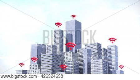 Image of multiple red wifi symbols over network of connections and cityscape. digital interface connection and communication concept digitally generated image.