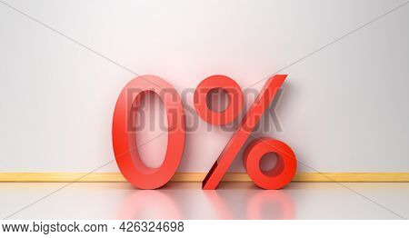 3d Rendering Glossy Zero Percent Sign Isolated In Room Minimal. Percentage, Discount Concept Busines